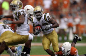 Johnathan Franklin Tailback Johnathan Franklin #23 of the UCLA Bruins runs the ball against the Texas Longhorns at Darrell K Royal-Texas Memorial Stadium on September 25, 2010 in Austin, Texas.
