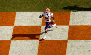 Brandon James Brandon James #25 of the Florida Gators celebrates as he returns a punt for a touchdown against the Tennessee Volunteers during their game at Neyland Stadium on September 20, 2008 in Knoxville, Tennessee.
