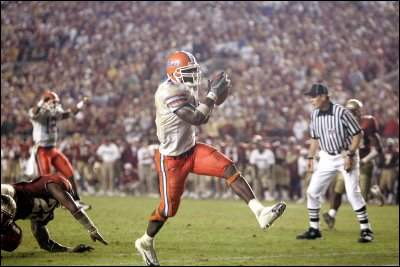 Fason scores on an eight yard touchdown run to seal Florida's 20-13 win over FSU. Fason's vision of doing the Gator chomp in the FSU end zone had come true