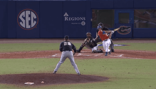 Harrison Bader's solo HR at McKethan Stadium. Bader also walked three times and stole two bases in UF's 10-2 victory.