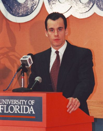 Donovan at his introductory press conference in 1996, age 30.